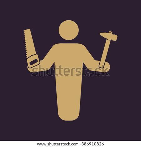 The carpenter avatar icon. Builder and handyman, craftsman symbol. Flat Vector illustration - stock vector