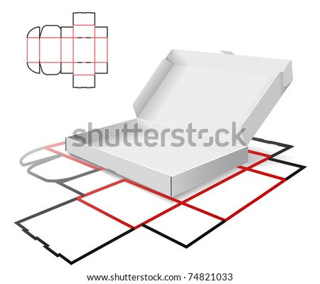 The carton and cutting scheme is shown in the picture. - stock vector