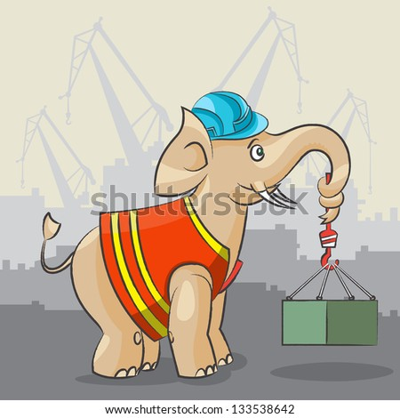The cartoon elephant lifts a heavy freight against cranes - stock vector