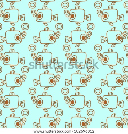 The cartoon sea seamless pattern with fishes and bubbles. Vector illustration. Seamless pattern can be used for wallpaper, pattern fills, web page background, surface textures. - stock vector