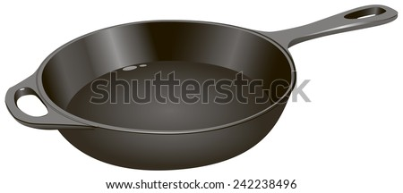 The cast-iron frying pan for home use, medium size. Vector illustration. - stock vector