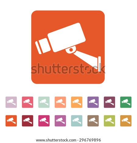 The cctv icon. Camera and surveillance, security, observation symbol. Flat Vector illustration. Button Set - stock vector