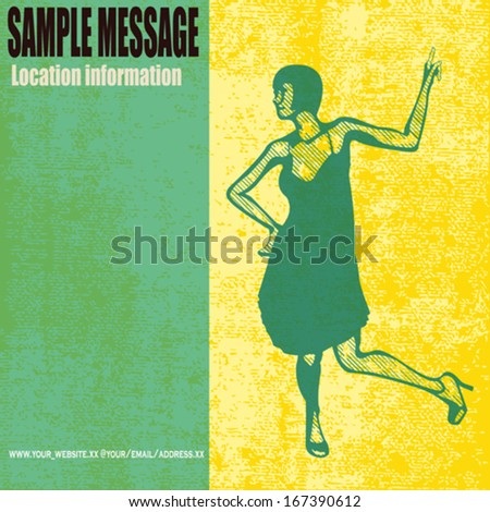 The Charleston, grunged vector background with a female dancer - stock vector