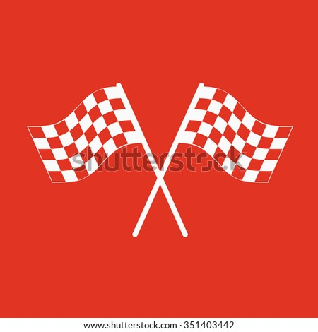 The checkered flag icon. Finish symbol. Flat Vector illustration - stock vector