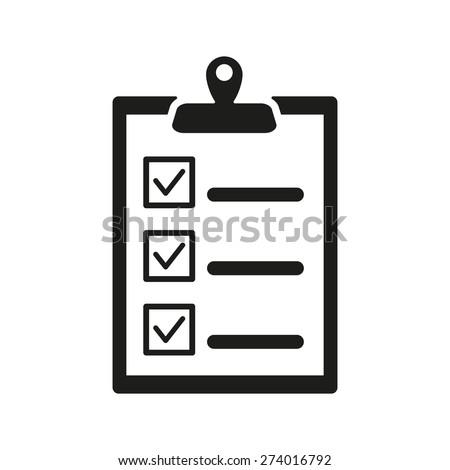 The checklist icon. Clipboard symbol. Flat Vector illustration - stock vector