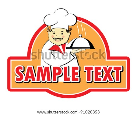 The chef holds a tray with a dome on the advertising sign, vector - stock vector