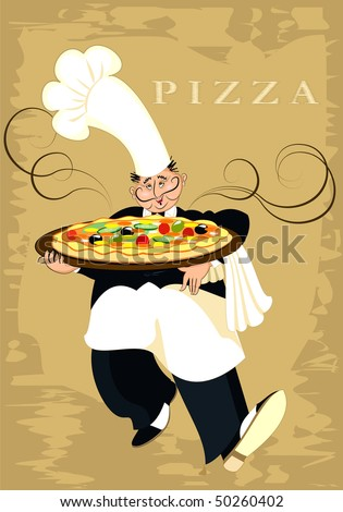 The chef serves pizza - stock vector