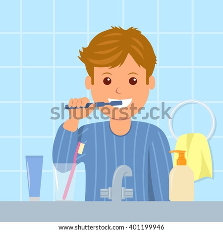 The child in pajamas brushing teeth before bedtime. Oral hygiene. Cartoon character of a man with toothbrush in his hand. Taking care of dental health. - stock vector