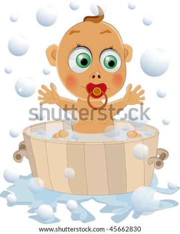 the child likes to wash - stock vector