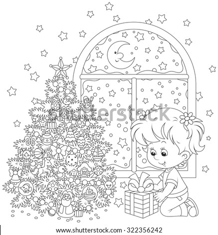 The Christmas night, a little girl with her gift near a decorated Christmas tree - stock vector