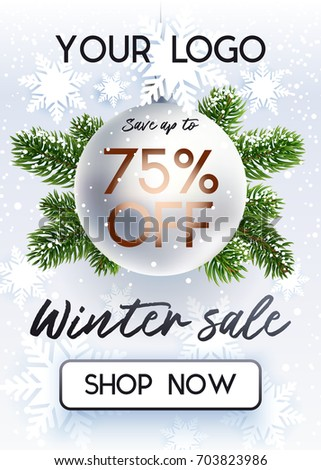 Christmas Sale Advertising Poster Store Discounts Stock Vector  - Christmas Tree Discounts