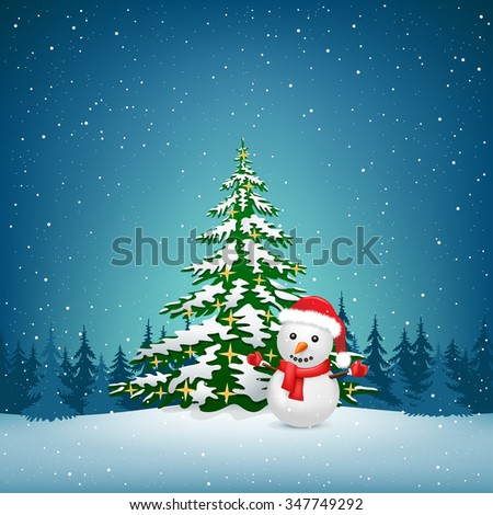 The Christmas tree and snowman on the winter forest background - stock vector