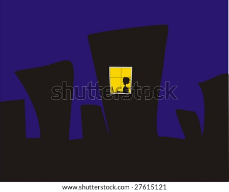 The City at the Night with Yellow Window - Vector