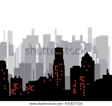 The city.Building vector color.Skyscrapers in a major city.City design. - stock vector