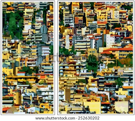 The city. Densely built houses in the city. Architectural Chaos. (diptych) Conceptual drawing. - stock vector