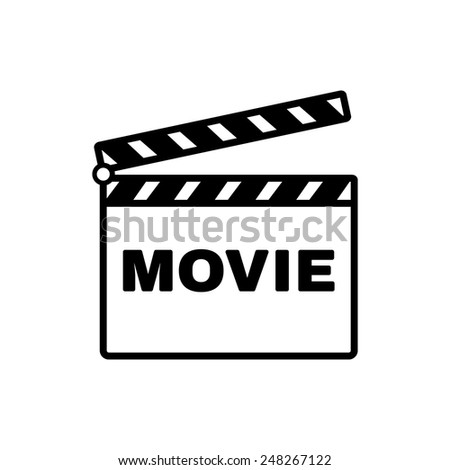 The clapper board icon. Movie symbol. Flat Vector illustration - stock vector