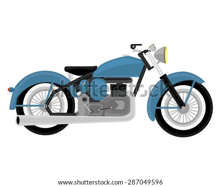 The classic retro blue motorcycle. - stock vector
