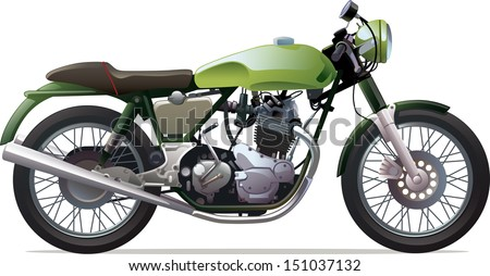 The classic retro motorcycle. This is the great example of an old racing bikes. Editable vector EPS v.10