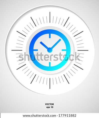 The clock concept poster. Mechanical clock face (dial) as part of an analog clock (watch) with black a pointers. Isolated on gray background. Vector illustration EPS 10 - stock vector