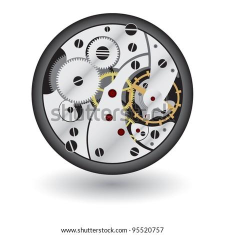 The clock mechanism - stock vector
