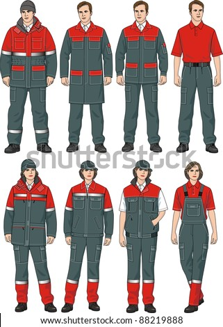 The clothes complete set consists of a jacket, trousers, a dressing gown, a T-shirt and a cap - stock vector