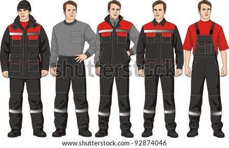 The clothes complete set consists of a jacket, trousers, a jumper, a waistcoat and a cap - stock vector