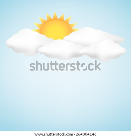 The clouds, sun and blue sky background - stock vector