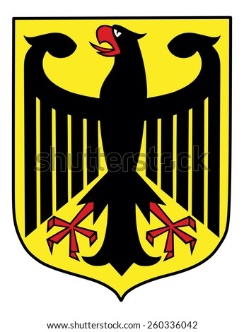 The Coat of Arms of Germany features a black eagle called the Bundesadler. Coat of arms of Germany, black eagle on a yellow field, isolated on white background. - stock vector