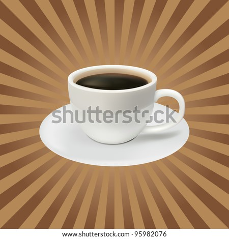 The coffee cup on a brown background. Lunch - stock vector