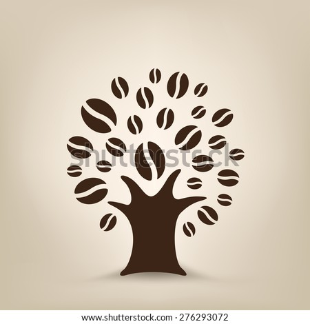 The coffee tree silhouette on the light brown mesh background - stock vector