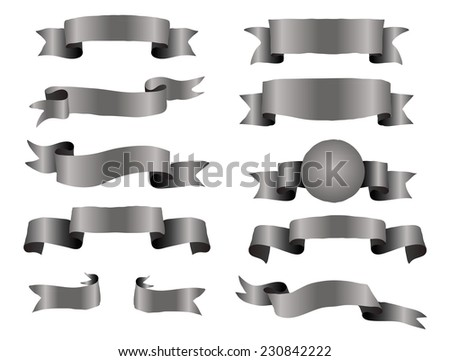 The collection of black ribbons banners for your business - stock vector