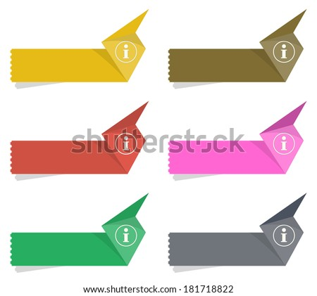 the collection of blank labels with info icon / the info origami label set / the origami style label - stock vector