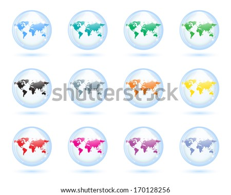 The collection of different glass earth globes. - stock vector