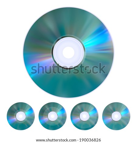 The collection of five realistic cd, dvd disks. - stock vector