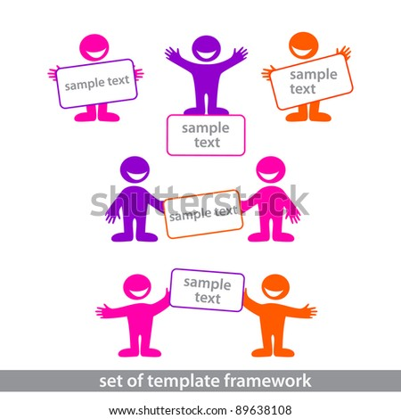 The collection of frames for your design. Men with signs. - stock vector
