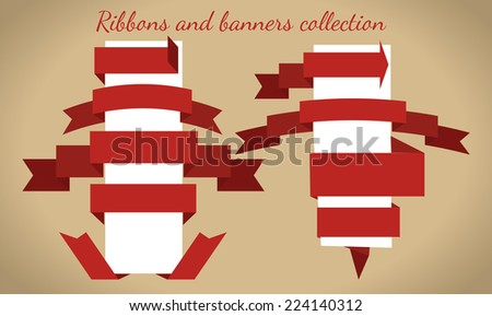 The collection of retro ribbons banners for your business - stock vector