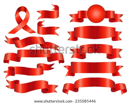 The collection red ribbons banners for your business - stock vector