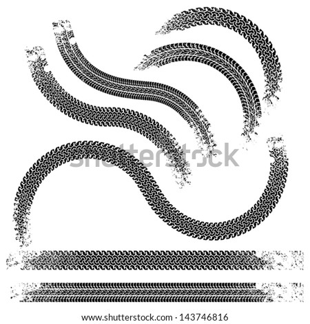 The collection traces of tires.Black and white. - stock vector