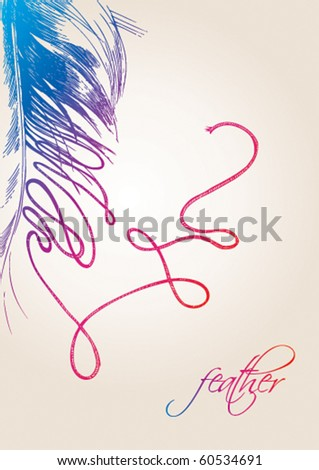 The colorful bird's feather is transformed to a thread on the beige background. Vector illustration. - stock vector