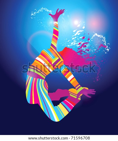 The colorful dancing girl floodlighting with spots and spray on blue background. Vector illustration. - stock vector