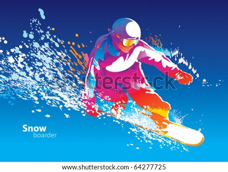 The colorful figure of a young man snowboarding on a blue sky background. Vector illustration. - stock vector