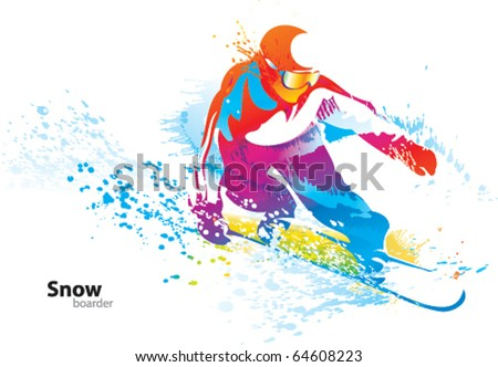 The colorful figure of a young man snowboarding with drops and sprays on a white background. Vector illustration. - stock vector