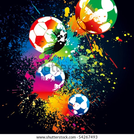 The colorful footballs on a black background. Vector illustration. - stock vector