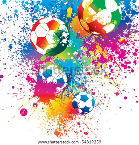 The colorful footballs on a white background. Vector illustration. - stock vector