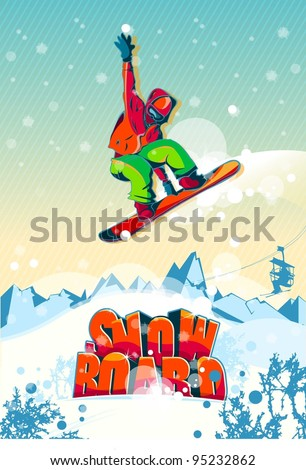 The colorful man jumping with a snowboard. Vector illustration. - stock vector