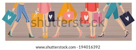 The colorful vector illustration of women with shopping bags for your design. Spring and summer sales of shoes, dresses,skirts,  jeans and shorts. - stock vector