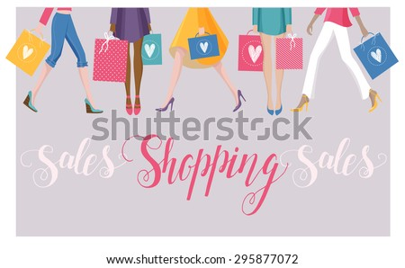 The colorful vector illustration of women with shopping bags. Spring and summer sales background for your design. Custom lettering typography with words Sales and Shopping.  - stock vector