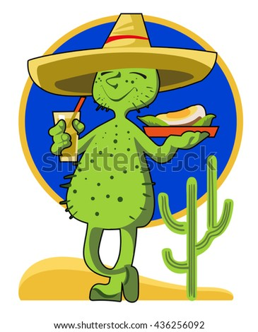 The comic image of a cactus in sombrero with a glass of tequila 