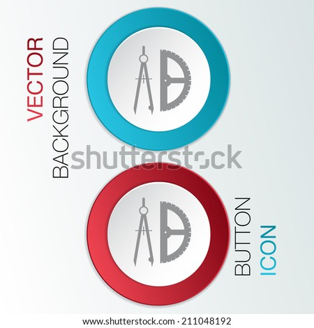 the compass and protractor. characters geometry. - stock vector