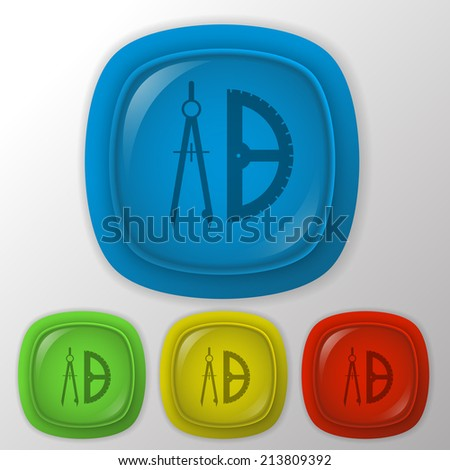 the compass and protractor. characters geometry. Education sign - stock vector